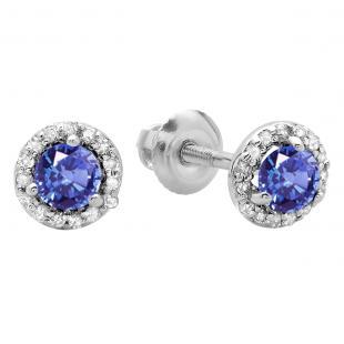 0.50 Carat (ctw) 14K White Gold Round Tanzanite & White Diamond Ladies Halo Style Stud Earrings 1/2 CT