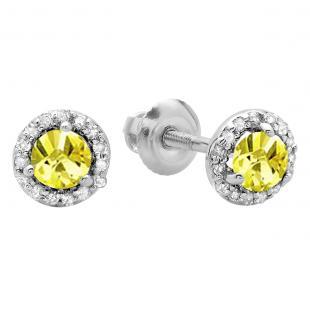 0.50 Carat (ctw) 14K White Gold Round Yellow Sapphire & White Diamond Ladies Halo Style Stud Earrings 1/2 CT