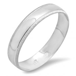 10k White Gold Men's Ladies Unisex Ring Wedding Band 4MM Millgrain Edged Plain Shiny Polished Traditional Fit