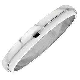 10k White Gold Men's Ladies Unisex Ring Wedding Band 4MM Domed Plain Shiny Polished Traditional Fit (Available in Sizes 5 to 13)