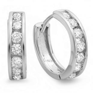 0.55 Carat (ctw) 12mm 10K White Gold Round Diamond Ladies Mens Unisex Huggie Hoop Earrings