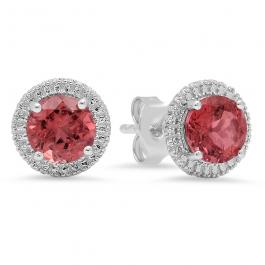 Sterling Silver Round Pink Tourmaline Ladies Stud Earrings