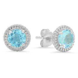 Sterling Silver Round Cut Aquamarine Ladies Bedded Frame Fashion Stud Earrings