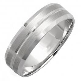 14k White Gold Mens Wedding Band Traditional Fit Grooved Brushed (Size 9.75)