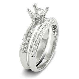 0.50 Carat (ctw) 14k White Gold Round Diamond Ladies Semi Mount Bridal Engagement Ring Set (No Center Stone)