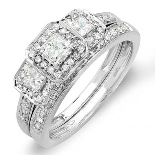 1.00 Carat (ctw) 14k White Gold Round & Princess Cut 3 Stone Diamond Ladies Engagement Ring Matching Band Set