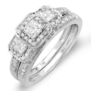 Certified 1.00 Carat (ctw) 14k White Gold Round & Princess Cut 3 Stone Diamond Ladies Engagement Ring Matching Band Set