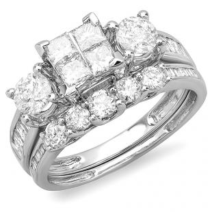 1.90 Carat (ctw) 14k White Gold Princess & Round Diamond Ladies Bridal Ring Set Engagement with Matching Band
