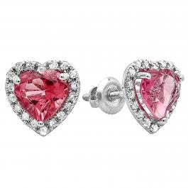 1.65 Carat (ctw) 10K White Gold Heart Cut Pink Tourmaline & Round White Diamond Ladies Heart Shaped Halo Stud Earrings
