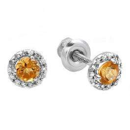 0.75 Carat (ctw) 10K White Gold Round Citrine & White Diamond Ladies Halo Style Stud Earrings 3/4 CT