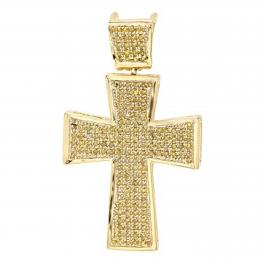 0.50 Carat (ctw) 18k Yellow Gold Plated Sterling Silver Micro Pave Diamond Mens Hip Hop Religious Cross Pendant
