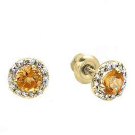 0.35 Carat (ctw) 14k Yellow Gold Round Deep Yellow Citrine & Diamond Halo Stud Earrings