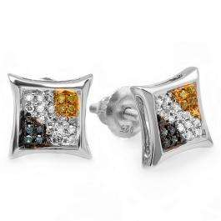 0.10 Carat (ctw) Sterling Silver Blue, White & Yellow Round Diamond Micro Pave Setting Kite Shape Stud Earrings