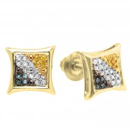 0.10 Carat (ctw) 18K Yellow Gold Plated Sterling Silver Blue White & Yellow Round Diamond Micro Pave Setting Kite Shape Stud Earrings