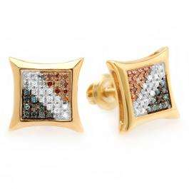 0.15 Carat (ctw) Sterling Silver Blue White & Red Round Diamond Micro Pave Setting Kite Shape Stud Earrings