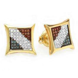 0.25 Carat (ctw) 14k Yellow Gold Blue White & Red Round Diamond Micro Pave Setting Kite Shape Stud Earrings 1/4 CT