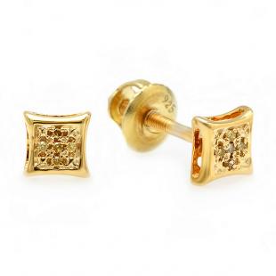 0.05 Carat (ctw) Sterling Silver Yellow Round Diamond Micro Pave Setting Kite Shape Stud Earrings