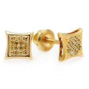 0.10 Carat (ctw) Sterling Silver Yellow Round Diamond Micro Pave Setting Kite Shape Stud Earrings