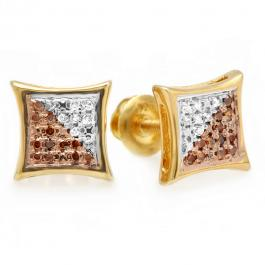 0.10 Carat (ctw) Yellow Gold Plated Sterling Silver Red & White Round Diamond Micro Pave Setting Kite Shape Stud Earrings