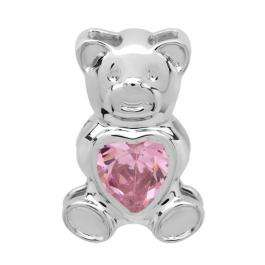 Sterling Silver Ladies Teddy Bear With Pink Topaz CZ Cubic Zirconia Pendant