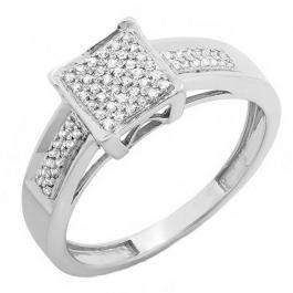 0.20 Carat (ctw) Sterling Silver Round White Diamond Men & Womens Micro Pave Engagement Ring 1/5 CT