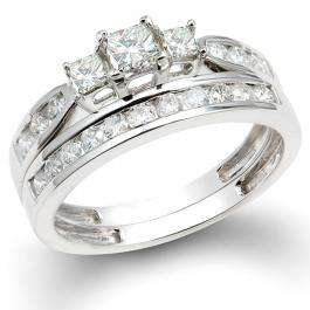 1.00 Carat (ctw) 14k White Gold Princess & Round 3 Stone Diamond Ladies Bridal Ring Set Engagement Set