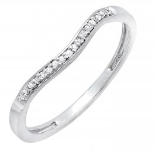 0.10 Carat (ctw) 14K White Gold Round Diamond Ladies Anniversary Wedding Band Guard Ring 1/10 CT