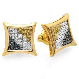 0.33 Carat (ctw) 18k Yellow Gold Plated Sterling Silver Blue White & Yellow Round Diamond Micro Pave Setting Kite Shape Stud Earrings 1/3 CT