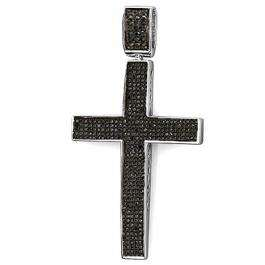 1.20 Carat (ctw) Sterling Silver Round Black Diamond Micro Pave Men's Hip Hop Religious Cross Pendant 1 1/4 CT