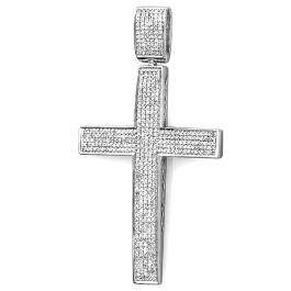 1.10 Carat (ctw) Sterling Silver Micro Pave Diamond Men's Hip Hop Religious Cross Pendant