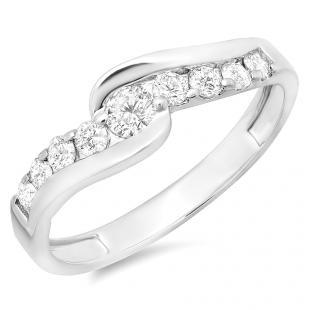 0.50 Carat (ctw) 14k White Gold Round Diamond Ladies Bridal Engagement Ring 1/2 CT