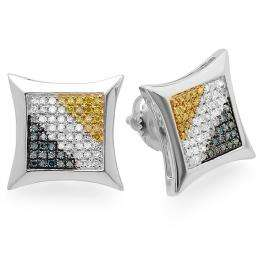 0.33 Carat (ctw) Sterling Silver Blue White & Yellow Round Diamond Micro Pave Setting Kite Shape Stud Earrings 1/3 CT