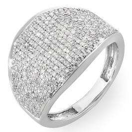1.25 Carat (ctw) 14k White Gold Round Diamond Ladies Cocktail Right Hand Ring 1 1/4 CT