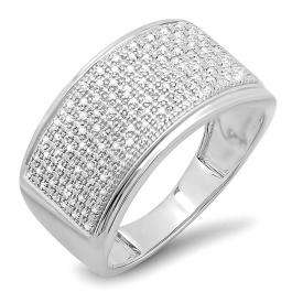 0.33 Carat (ctw) Sterling Silver Round Cut Diamond Men's Flashy Hip Hop Pinky Ring 1/3 CT