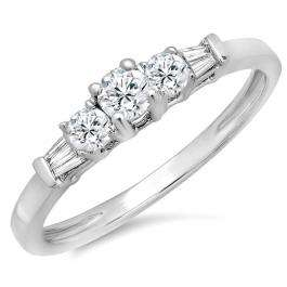 0.45 Carat (ctw) 10K White Gold Round & Baguette Cut Diamond Ladies 3 Stone Engagement Bridal Ring