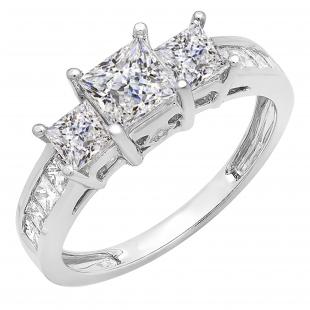 2.00 Carat (ctw) 14K White Gold Princess & Round Diamond Ladies Bridal 3 Stone Engagement Ring 2 CT