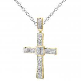 1.00 Carat (ctw) 18k Yellow Gold Plated Sterling Silver Round Diamond Micro Pave Setting Men's Hip Hop Religious Cross Pendant 1 CT