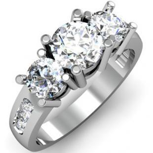 2.00 Carat (ctw) 14K White Gold Round Diamond Ladies 3 Stone Engagement Bridal Ring 2 CT
