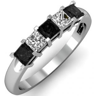 0.75 Carat (ctw) 10k White Gold Princess Cut Black and White Diamond Ladies 5 Stone Bridal Wedding Band Anniversary Ring 3/4 CT