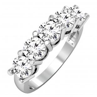 2.00 Carat (ctw) 14K White Gold Round White Diamond Ladies 5 Stone Bridal Wedding Band Anniversary Ring 2 CT