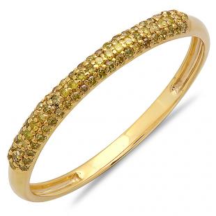 0.20 Carat (ctw) 10k Yellow Gold Round Yellow Diamond Ladies Bridal Anniversary Wedding Band Stackable Ring 1/5 CT