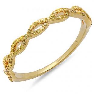 0.20 Carat (ctw) 10K Yellow Gold Round Yellow Diamond Ladies Swirl Anniversary Wedding Band Stackable Ring 1/5 CT