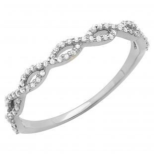 0.20 Carat (ctw) 10K White Gold Round Diamond Ladies Swirl Anniversary Wedding Band Stackable Ring 1/5 CT
