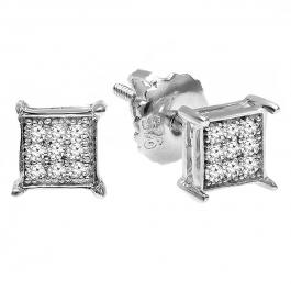 0.06 Carat (ctw) Platinum Plated Sterling Silver Round Diamond Square Shape Men's Hip Hop Iced Stud Earrings