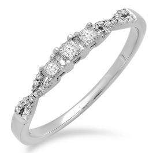 0.10 Carat (ctw) 10k White Gold Round Diamond Ladies Bridal Crossover Swirl 3 Stone Promise Engagement Ring 1/10 CT