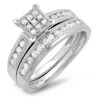 0.50 Carat (ctw) Sterling Silver Round White Diamond Ladies Engagement Bridal Ring Set Matching Wedding Band 1/2 CT