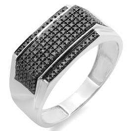 0.48 Carat (ctw) Platinum Plated Sterling Silver Round Black Diamond Men's Flashy Hip Hop Pinky Ring 1/2 CT