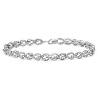 1.00 Carat (ctw) Sterling Silver Round White Diamond Ladies Tennis Link Bracelet 1 CT