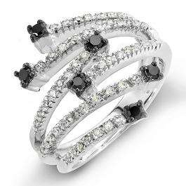 0.48 Carat (ctw) 14k White Gold Round Black & White Diamond Ladies Cocktail Right Hand Ring 1/2 CT