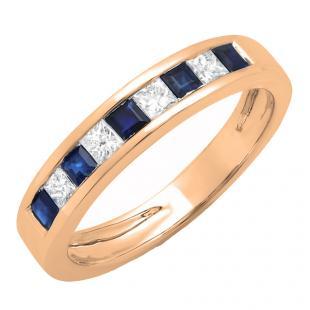 0.75 Carat (ctw) 18K Rose Gold Princess Cut Blue Sapphire & White Diamond Ladies Anniversary Wedding Band Stackable Ring 3/4 CT